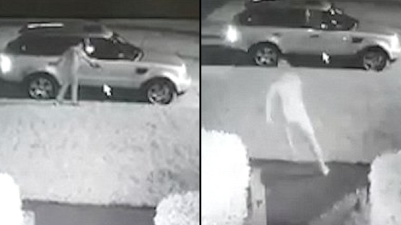 """Видео: """"Голый ниндзя"""" защитил свою машину от вора"""