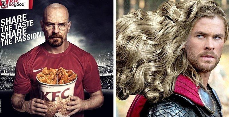 Как выглядела бы реклама ведущих брендов, появись в ней известные персонажи кино