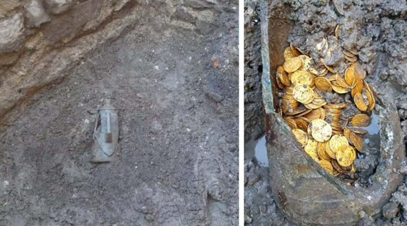 Под итальянским театром нашли кувшин, наполненный золотыми монетами 5-го века