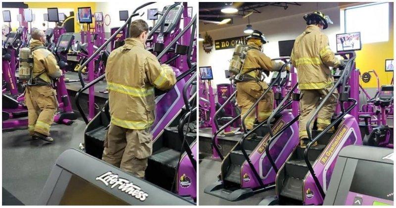 Американские пожарные в полном обмундировании прошли 110 этажей по лестнице-тренажёру в память о теракте 11 сентября