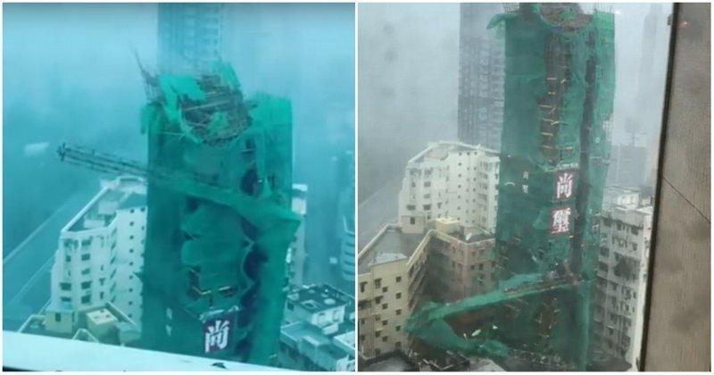 Супертайфун «Мангхут» сломал строительный кран словно спичку