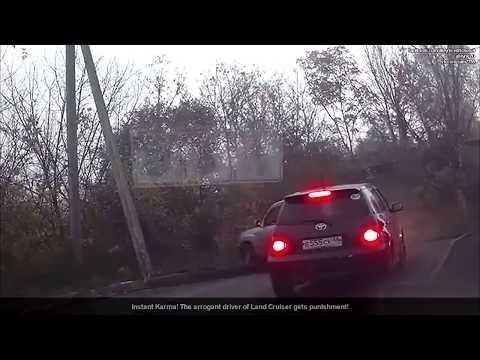 Мгновенная карма! Высокомерный и наглый водитель Land Cruiser получает наказание!
