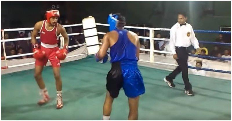 Боксерский поединок в Индии с неожиданным финалом