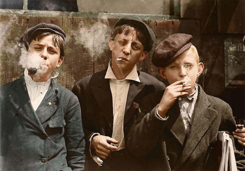 Детский труд в начале ХХ века в США: старые фото в цвете