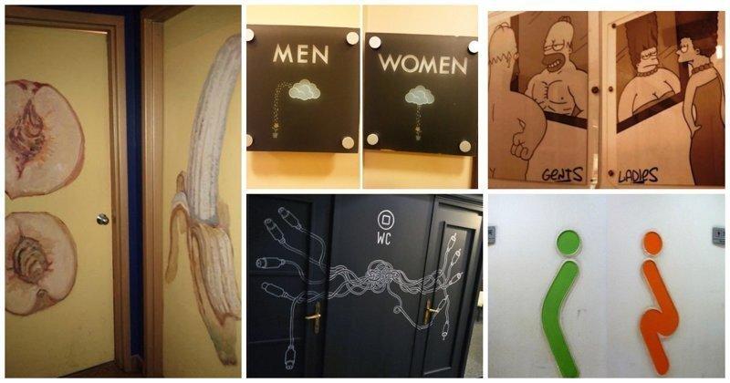 """Креативные таблички и двери туалетов: нет банальным """"М"""" и """"Ж"""""""