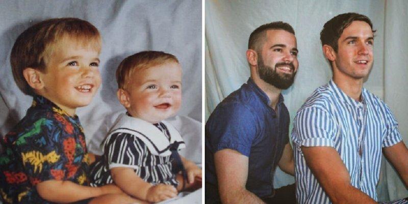Братья воссоздали детские фотографии к юбилею матери