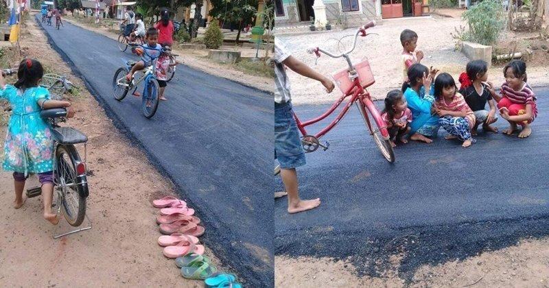 Эти дети впервые в жизни увидели асфальт