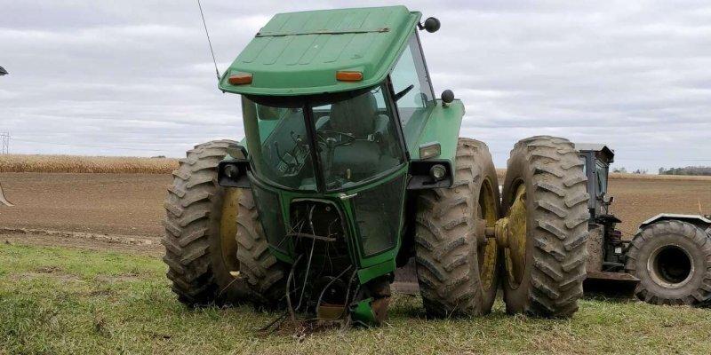 Трактор порвался на работе