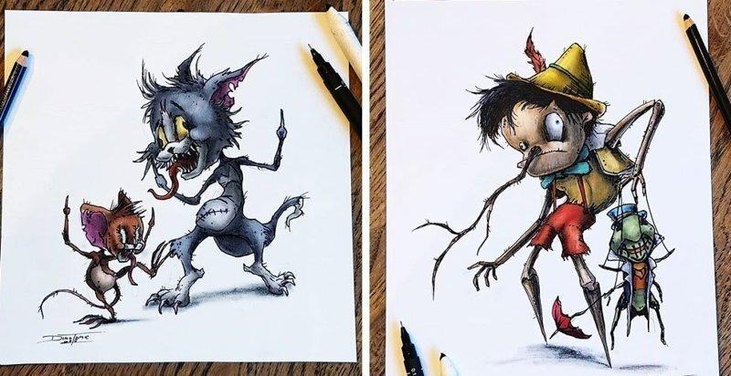 Художник изобразил любимых мультяшек в образе злобных монстров