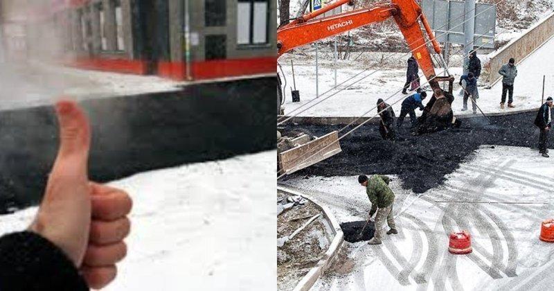 Разрешили: российские автодорожники будут укладывать асфальт в дождь, снег и мороз