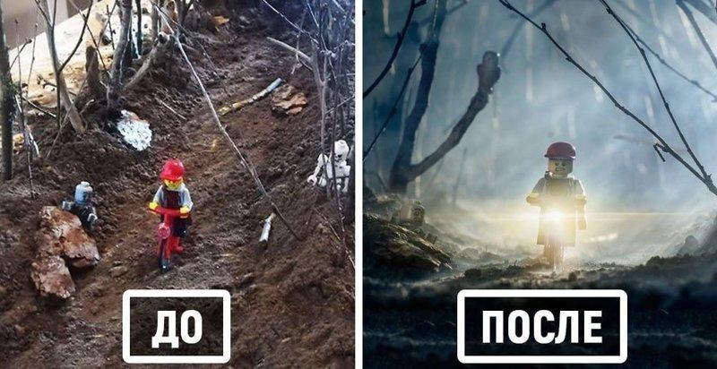 Фотограф снимает игрушки Lego и сам создаёт для них спецэффекты