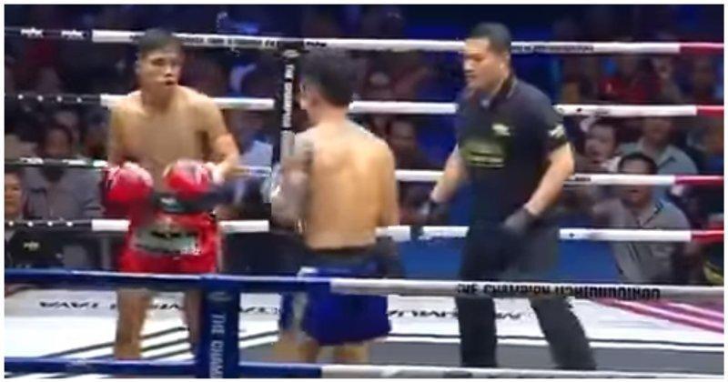 Тайский боксёр случайно отправил судью в нокдаун