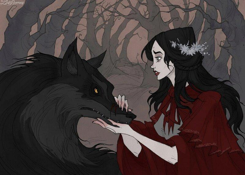 Художница нарисовала героев старинных сказок в мрачных и готических тонах
