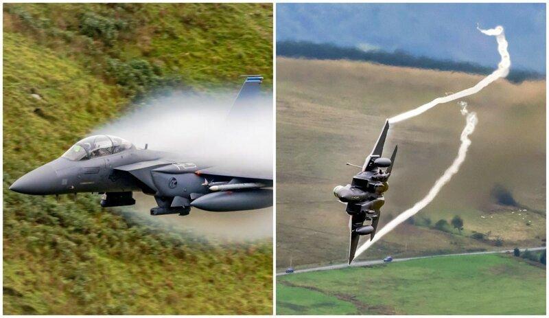 Потрясающие кадры полета: истребитель F-15 Strike Eagle создал вокруг себя облако