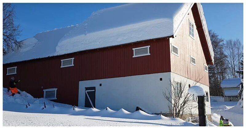 Как очищают крыши домов от снега в Норвегии