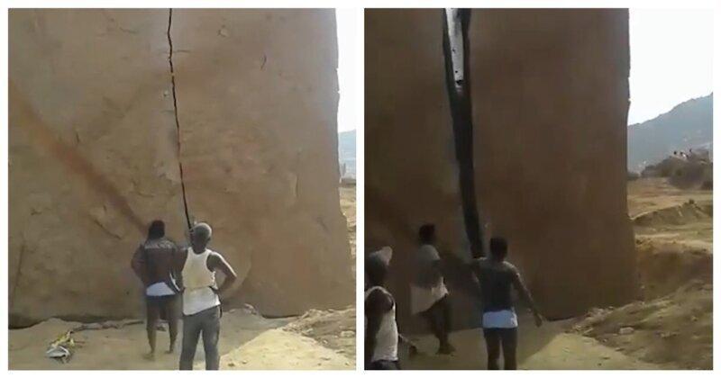 Жители индийской деревни, взяв молоток и зубило, смогли расколоть огромный валун