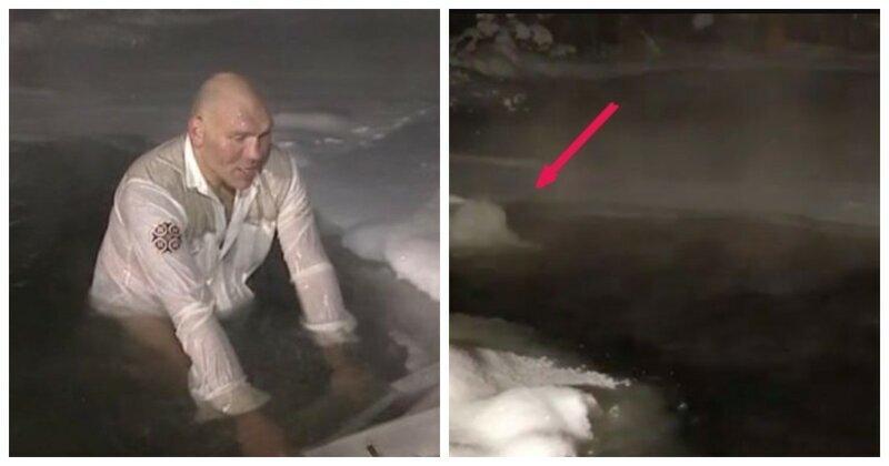 Николай Валуев на Крещение окунулся в прорубь, но народ углядел в купели подогрев