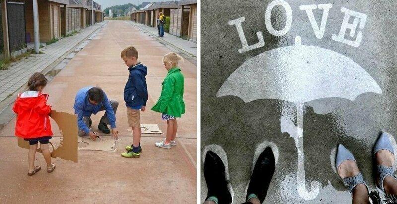 Американский художник создал проявляющиеся во время дождя картины