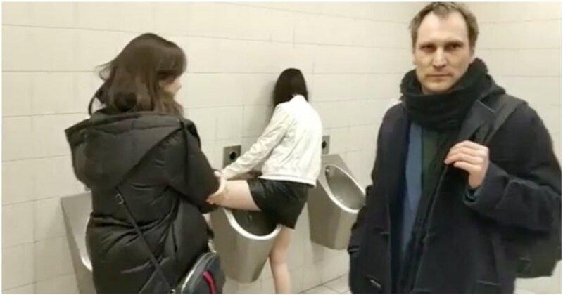 Справлявшая нужду в писсуар мужского туалета девушка вывела мужчину из себя