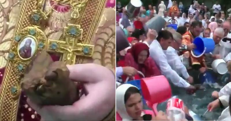 Видео с освящением воды ногой трупа возмутило пользователей