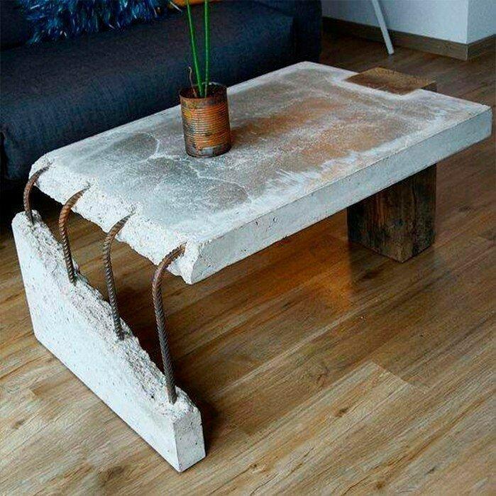 Оригинальный стол из бетона своими руками