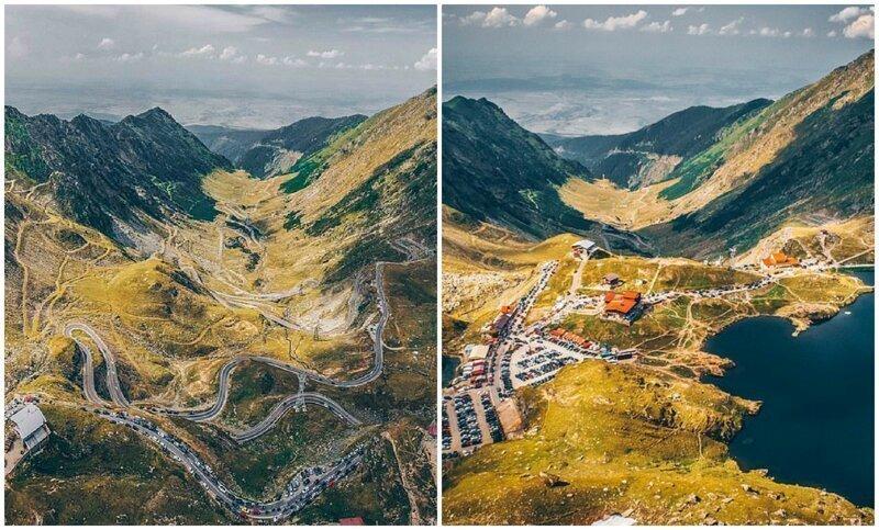 """Трансфэгэрашское шоссе - """"лучшая дорога в мире"""" с высоты птичьего полета"""