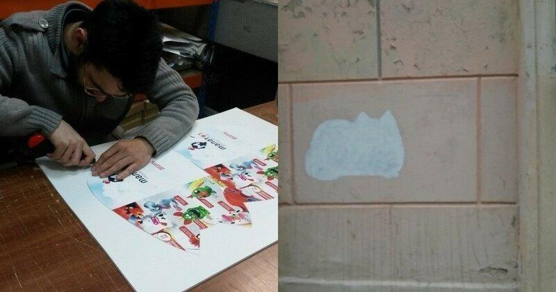 """Да - котикам, нет - наркотикам!"": петербуржец закрашивает криминальную рекламу трафаретами мурлык"