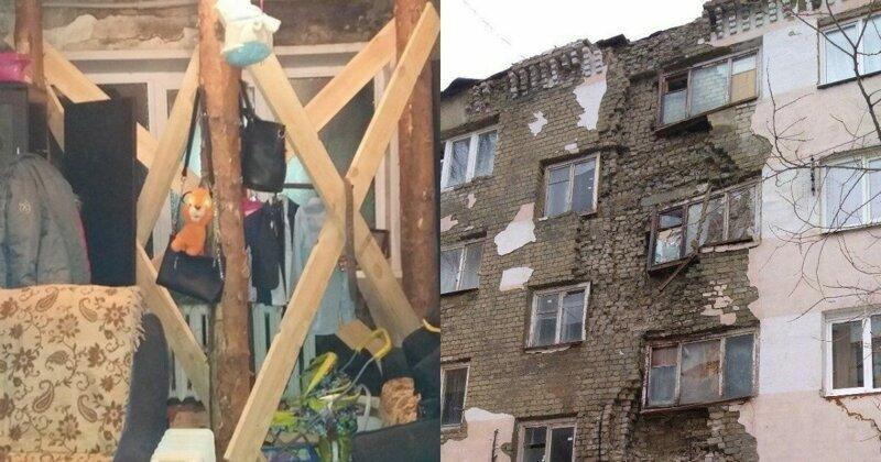 Экостиль: саратовские ремонтники подперли рушившийся потолок квартир бревнами