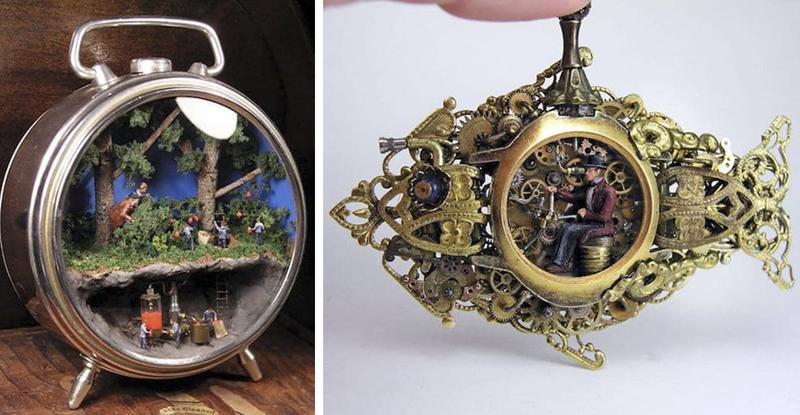Художник создаёт внутри часов фантастические миниатюрные стимпанк миры