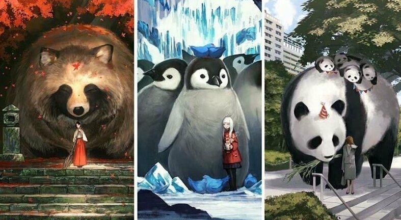 Художник из Японии создаёт картины с мирами, в которых обычные животные выглядят гигантами