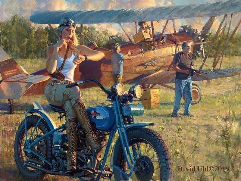 Мотоциклы Harley-Davidson и красивые девушки на ностальгических картинах Дэвида Уля