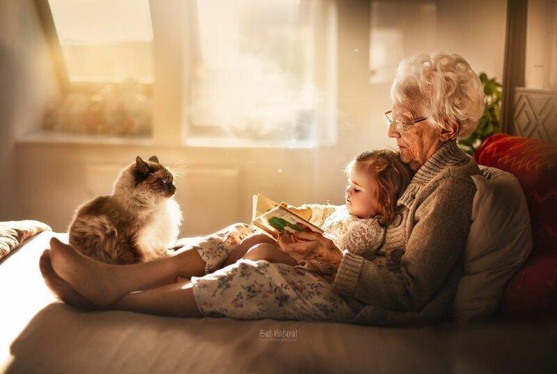 Семейные фотографии бабушек и дедушек с внуками