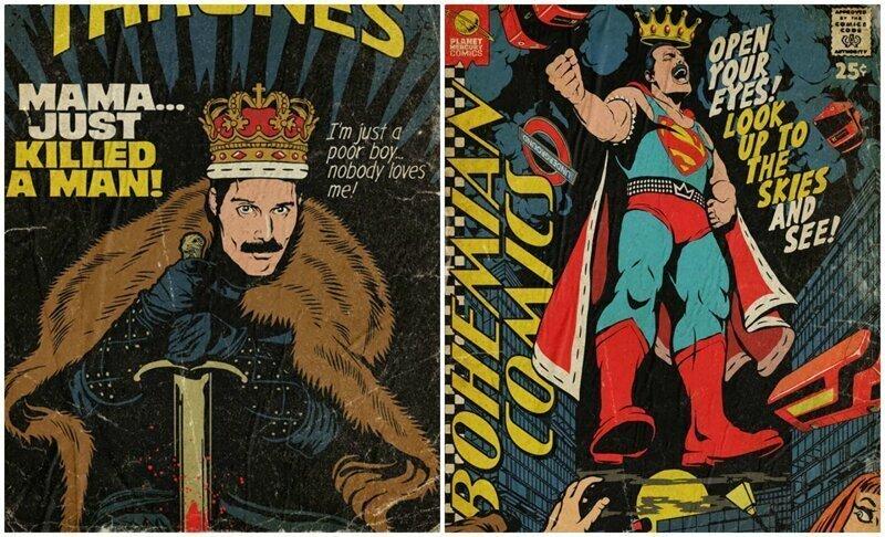 Фредди Меркьюри нарисовали в роли героя ретро-комиксов