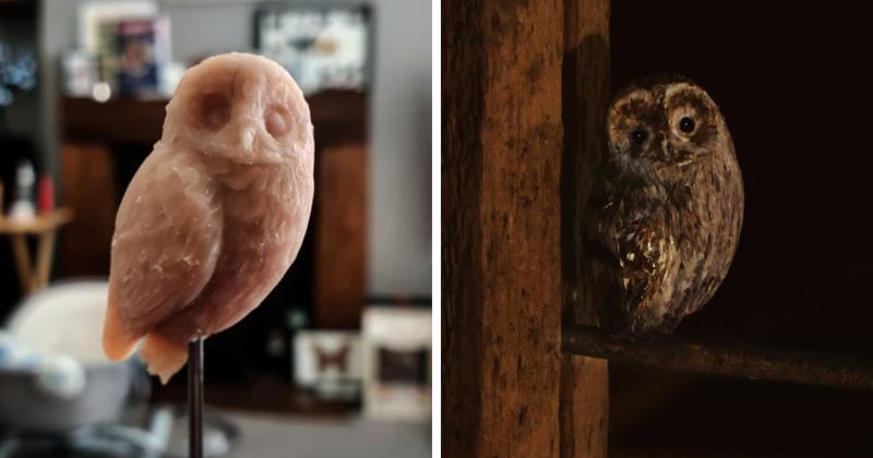 Реалистичные микро-фигурки птиц из глины и перьев