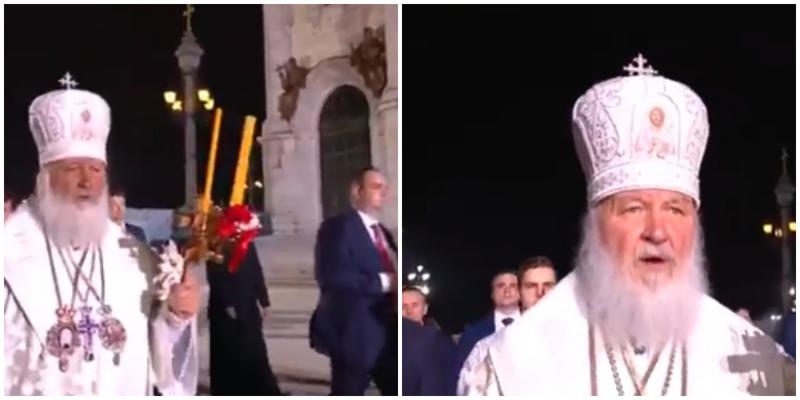 """""""На бога надейся"""": патриарх Кирилл появился на Крёстном ходе в окружении охранников ФСО"""