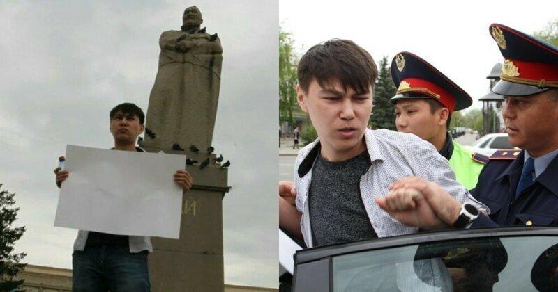 Житель Уральска вышел на площадь с пустым плакатом и был задержан полицией