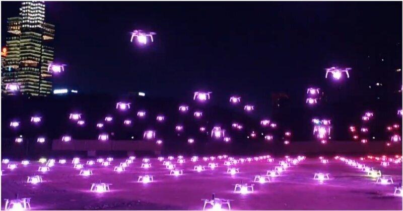 Впечатляющее футуристическое шоу с участием 526 беспилотных дронов