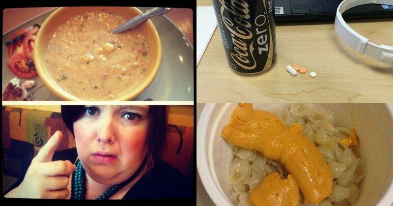 Пользователи сети поделились фото своего самого ужасного офисного обеда