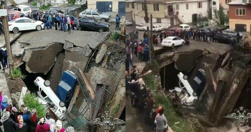 В Сети появилось видео рухнувшего вместе с машинами моста в Дагестане