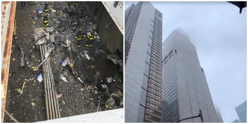 В Нью-Йорке вертолет врезался в небоскрёб рядом с Таймс-сквер