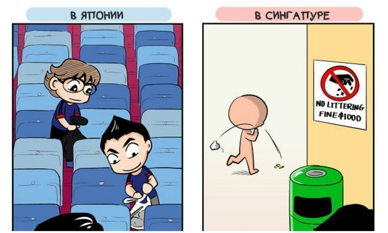 Любопытные комиксы о различиях между японцами и жителями других стран