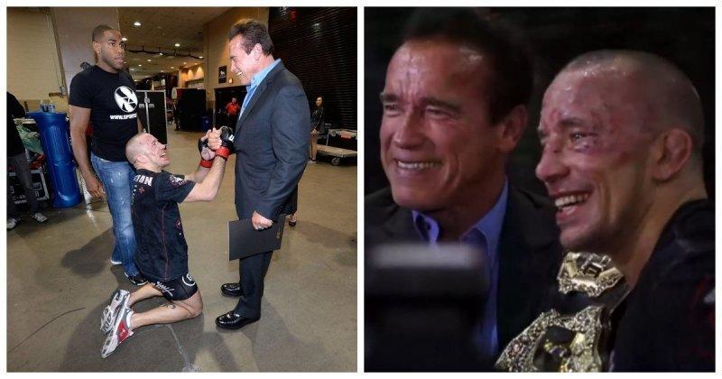 Боец UFC встретил после боя своего кумира детства