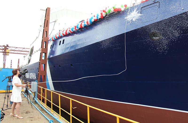 14 июня в Зеленодольске спущен на воду пограничный корабль «Анадырь» проекта 22100 «Океан»