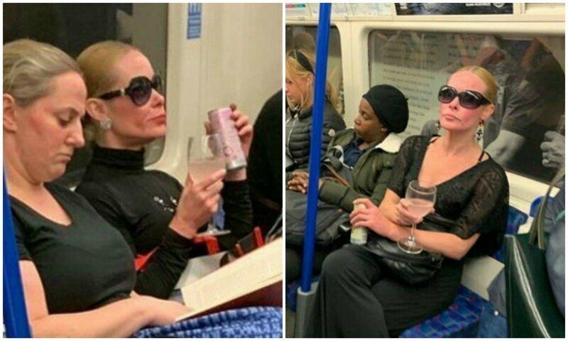 В метро Лондона заметили элегантную даму с бокалом