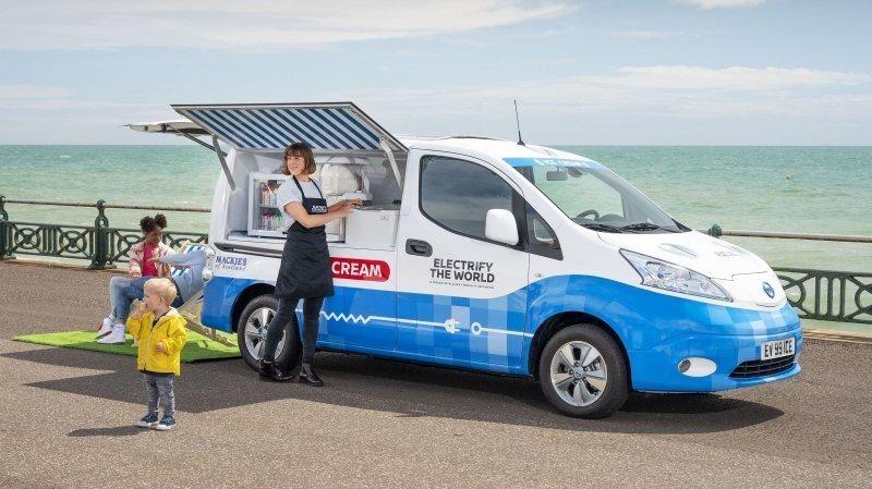 Nissan e-NV200 превратился в экологически чистый фургон для мороженого