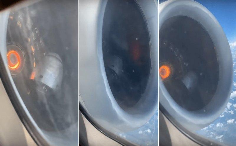 Пассажир запечатлел поломку двигателя самолета во время полета