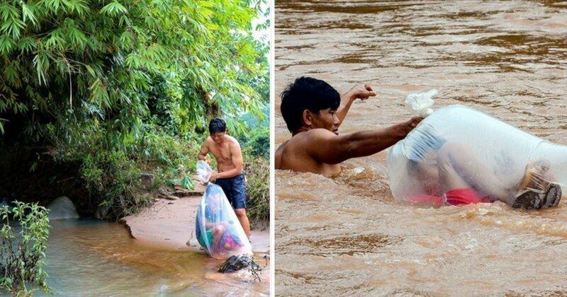 Жажда знаний: детей из вьетнамской деревни переправляют через реку в полиэтиленовых пакетах