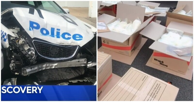 В Австралии фургон с 273 кг наркотиков врезался в полицейскую машину: видео