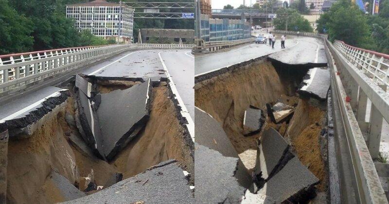 После ливневых дождей в Сочи провалился участок федеральной трассы