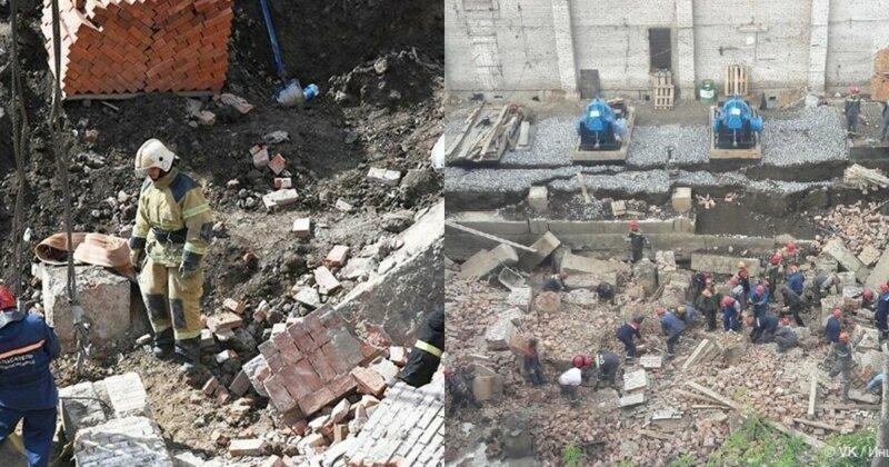 В Новосибирске во время ремонта теплотрассы обрушилась стена здания
